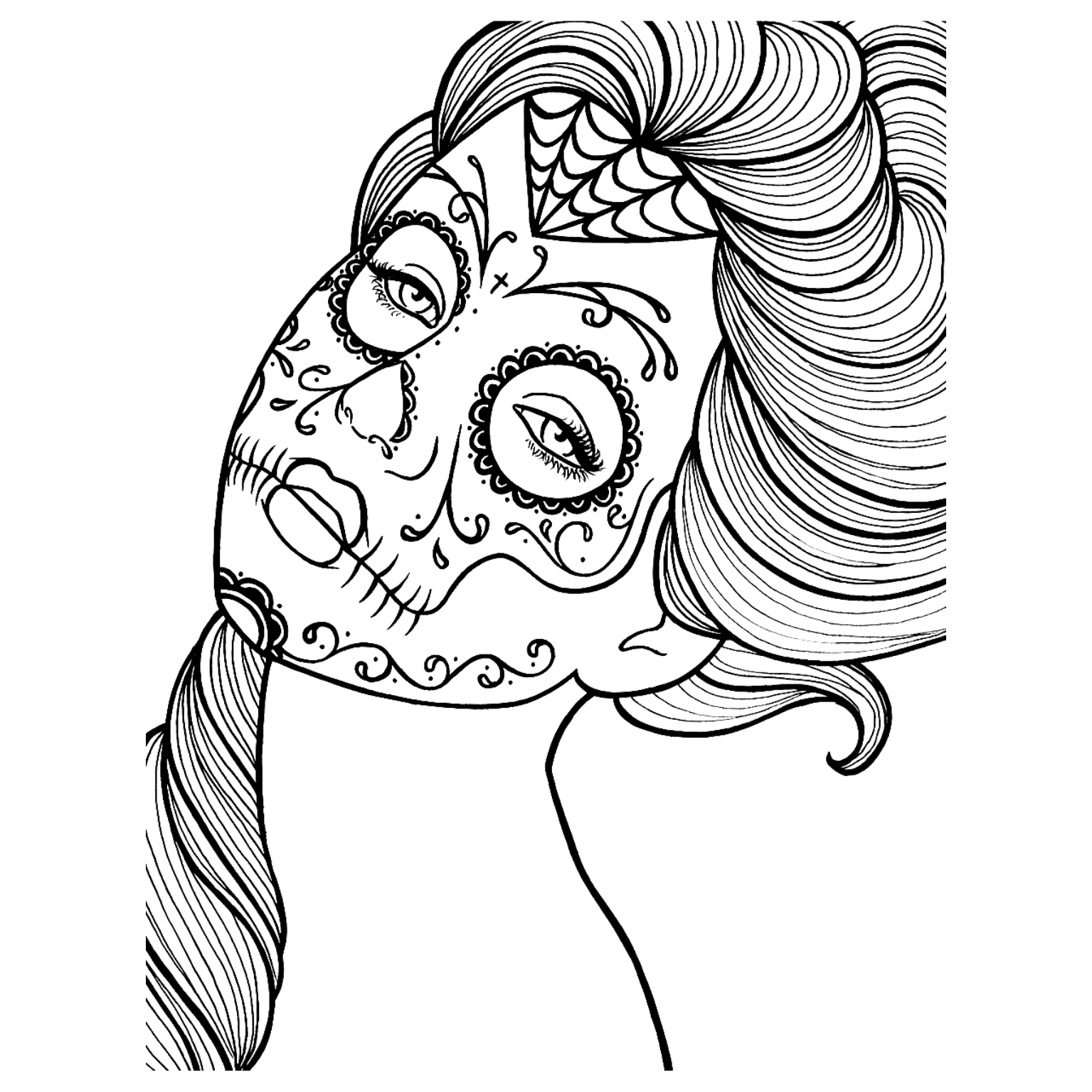 Caveiras mexicanas para colorir imagens png for Mexican coloring pages for adults
