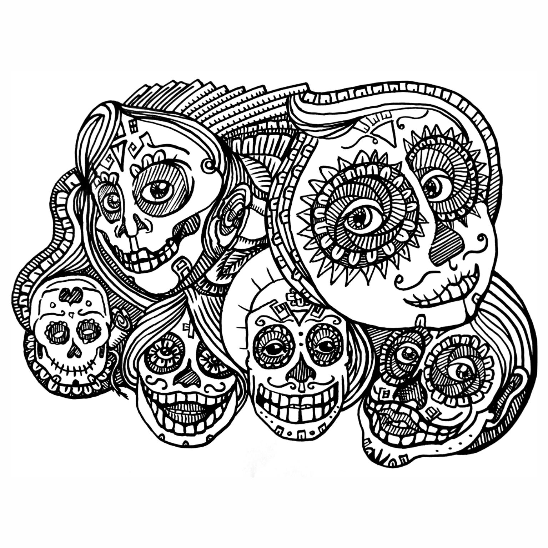 Caveiras Mexicanas para Colorir – Imagens PNG