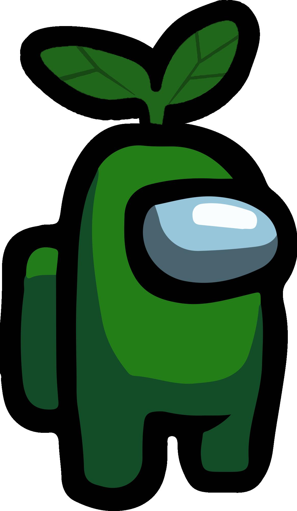 Among Us - Green Leaf Hat PNG 01